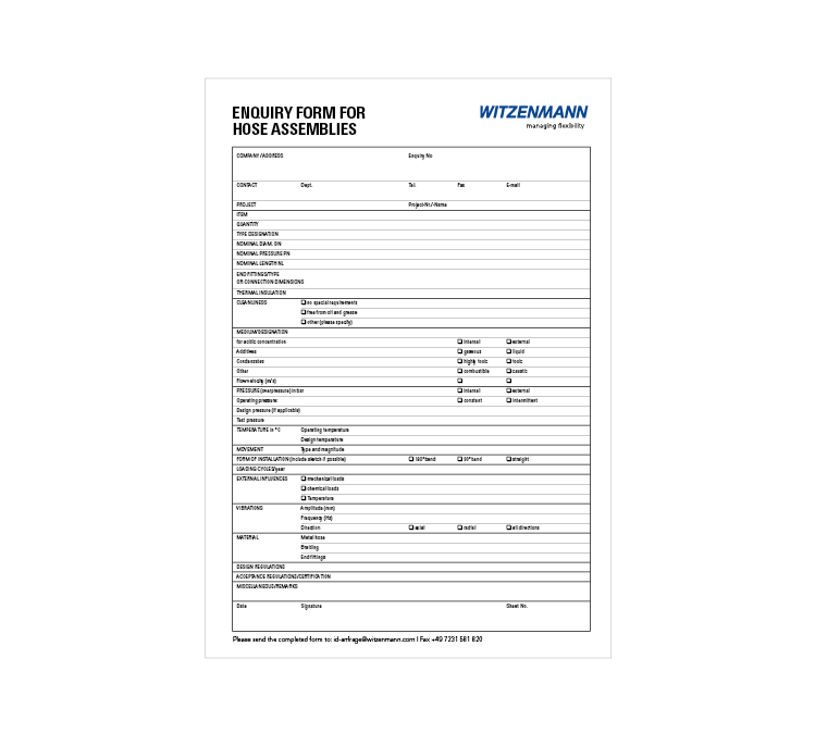 Preview Enquiry Form for Hose Assemblies